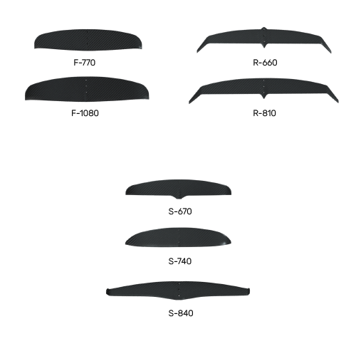 presentation of all the wings of the windfoil range in front view