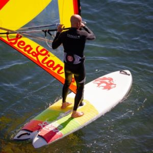 person windsurfing with a sealion summerboard