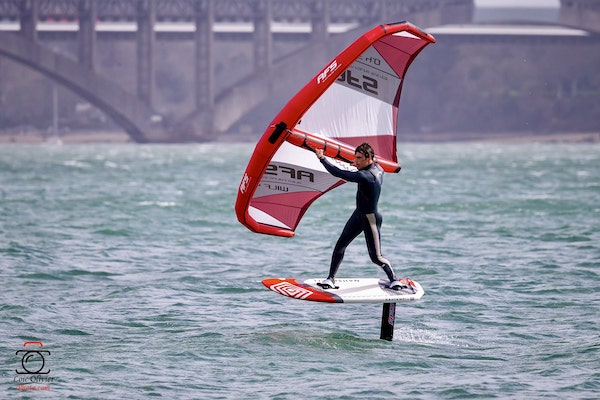 individual sailing inverted and with wing foil strap
