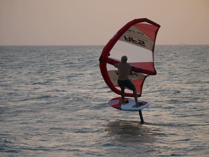wing foiling with a foil board and wing pack